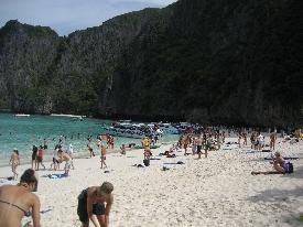 All the tourists at Maya Bay