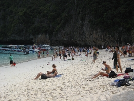 All the tourists at Maya Bay