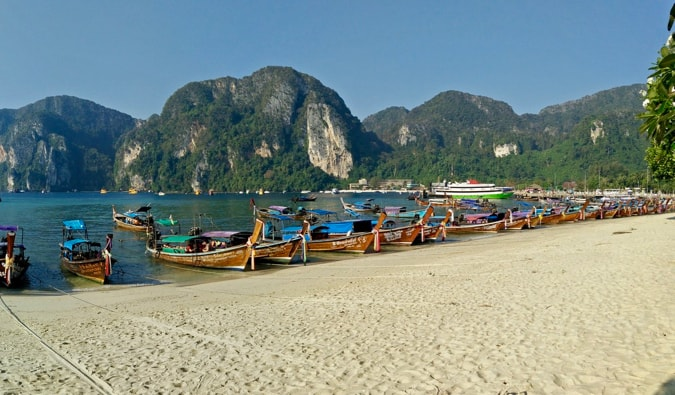 tourist boats at koh phi phi