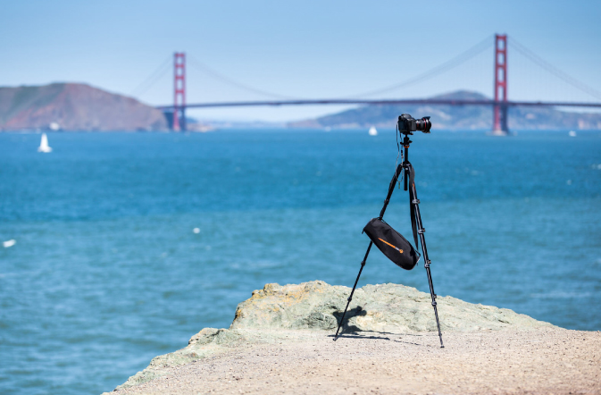 Camera gear in front of the Golden Gate Bridge in SF CA USA