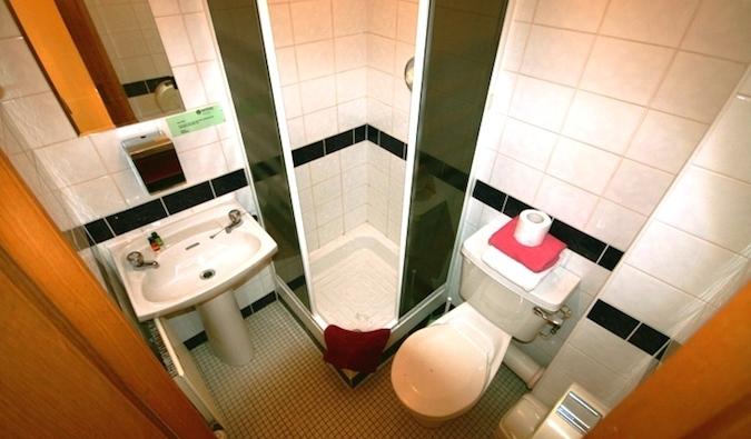 A small hostel bathroom