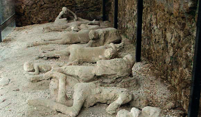 The preserved corpses of those killed in Pompeii in Garden of the Fugitives