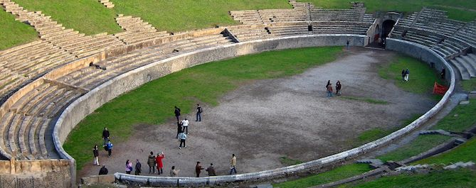 The amphitheater as seen from above in the Spring