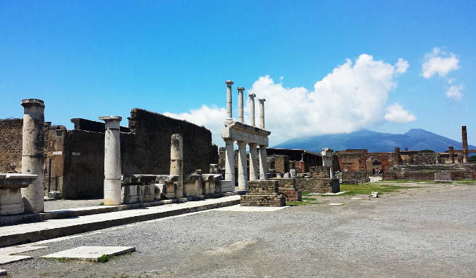 The ancient ruins of the Pompeii forum on a sunny day