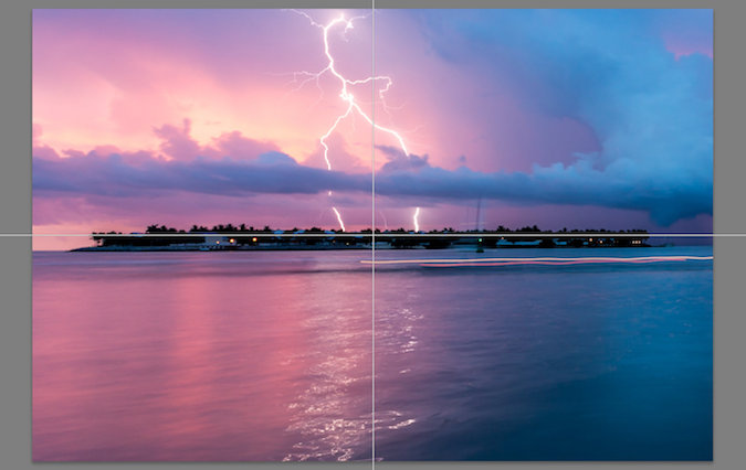 Blue pink nature picture of lightning at dusk leveling mask
