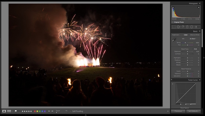 Contrast tutorial with fireworks at hogmanay in Lightroom - before