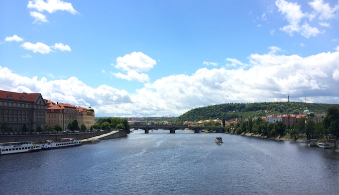 A wide river flowing through Prague in Czechia, Europe