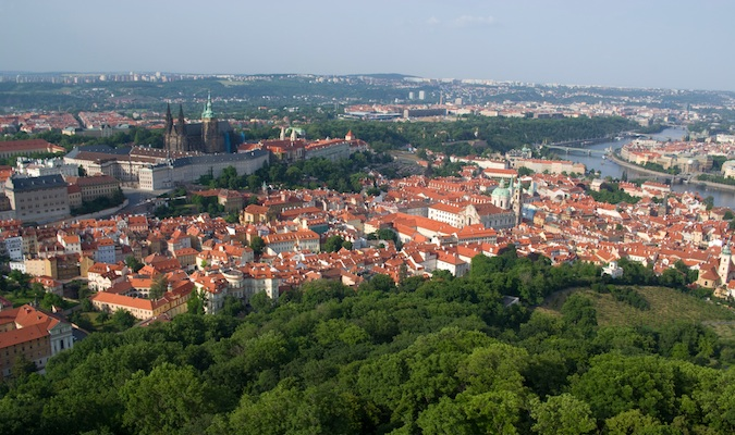 view of Prague from Petrin Park