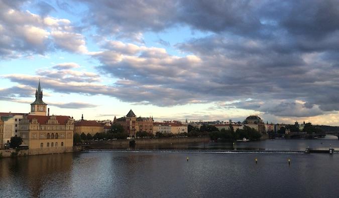 Prague town at sunset