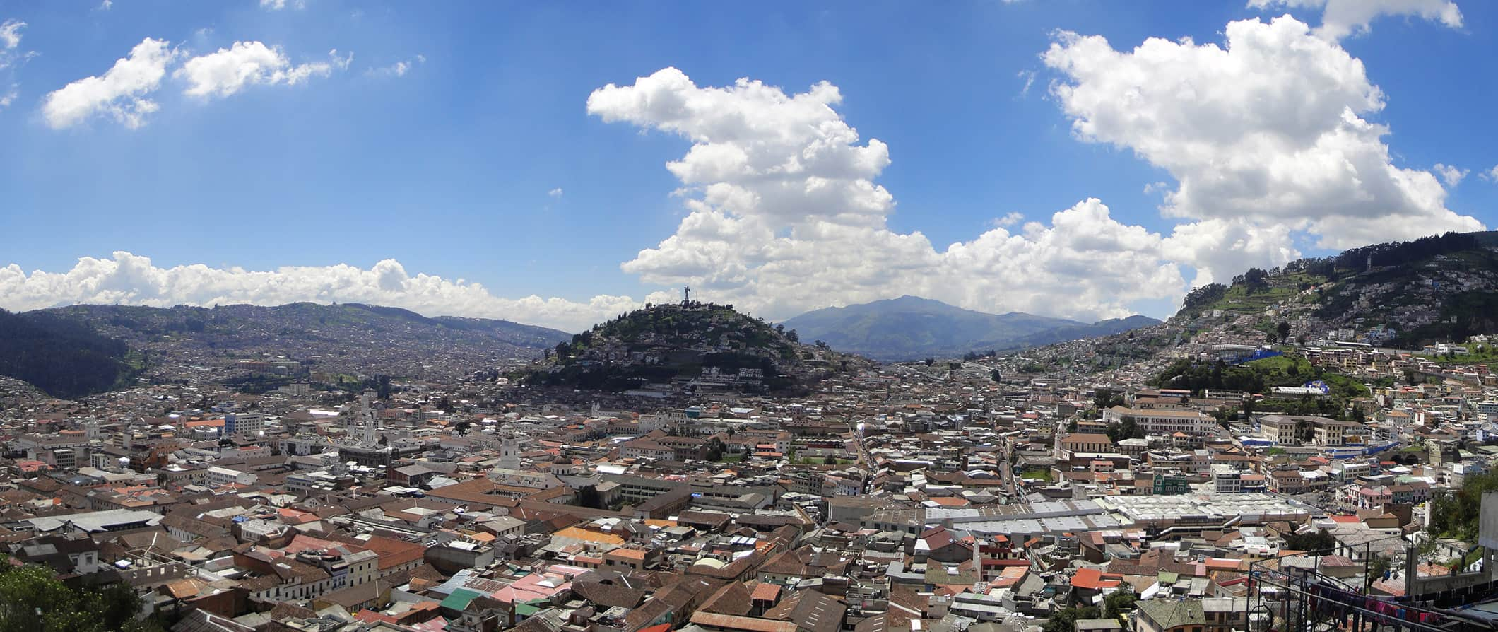 an aerial view of Quito, Ecuador