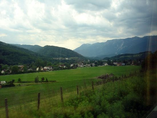 The Austrian Countryside from the inside of the train in Europe