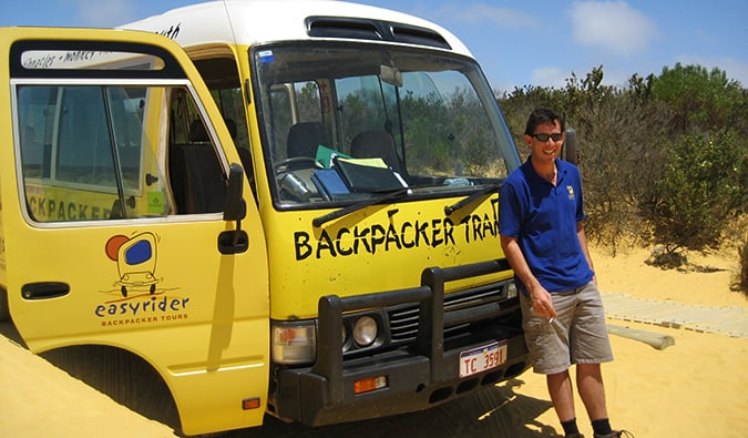 The Oz Experience bus driver in the Australian outback