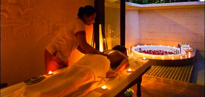 Female getting a romantic massage overseas