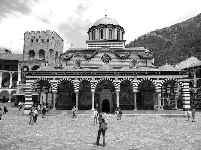 The front of the church at the Rila Monestery
