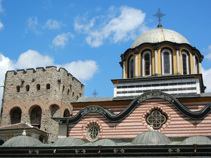 The church and bell tower at the Rila Monastery
