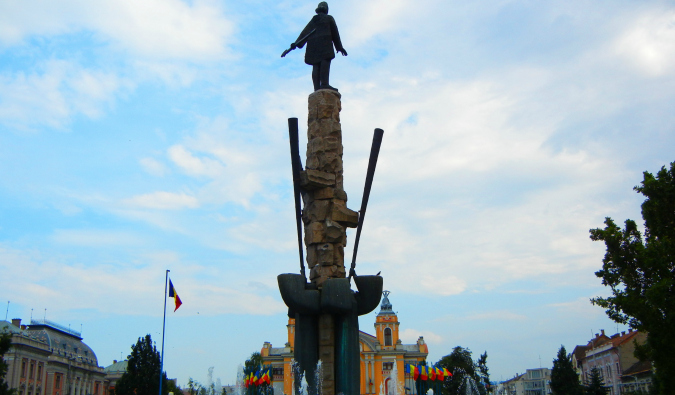 A large pillar statue of Vlad the Impaler in Romania