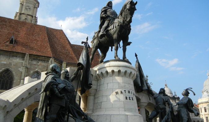 One of the many historical statues in Transylvania in Romania