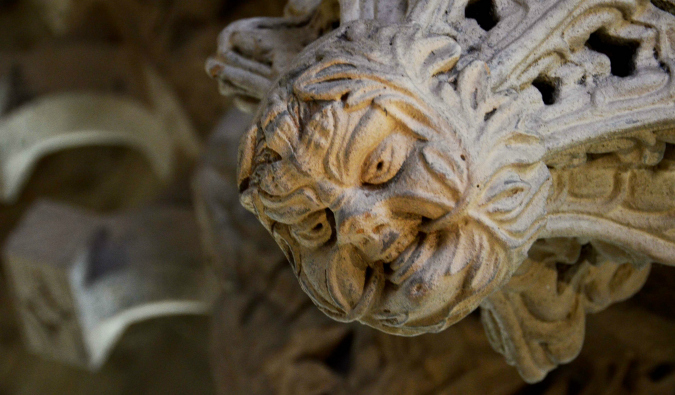Close up of the ornate work on the Rosslyn Chapel