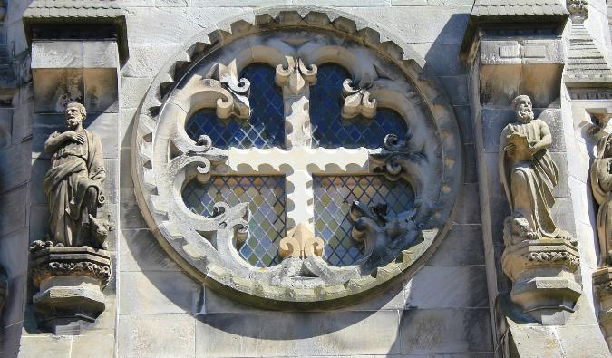 A window at Rosslyn Chapel in Scotland