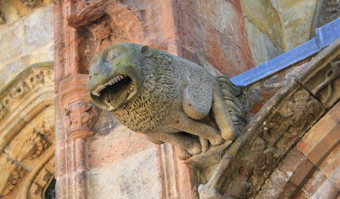 An old gargoyle on Rosslyn Chapel in Scotland