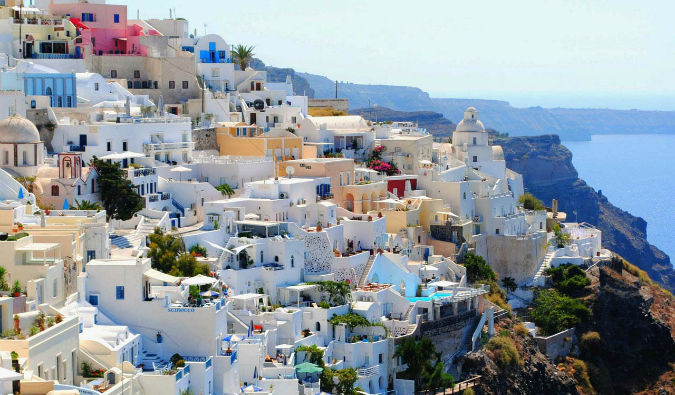 The traditional houses of Santorini, Greece along the beach