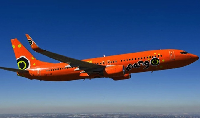 orange mango air plane from south africa