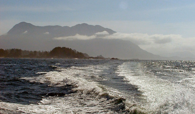 Rolling waves on the coast of Vancouver, Canada