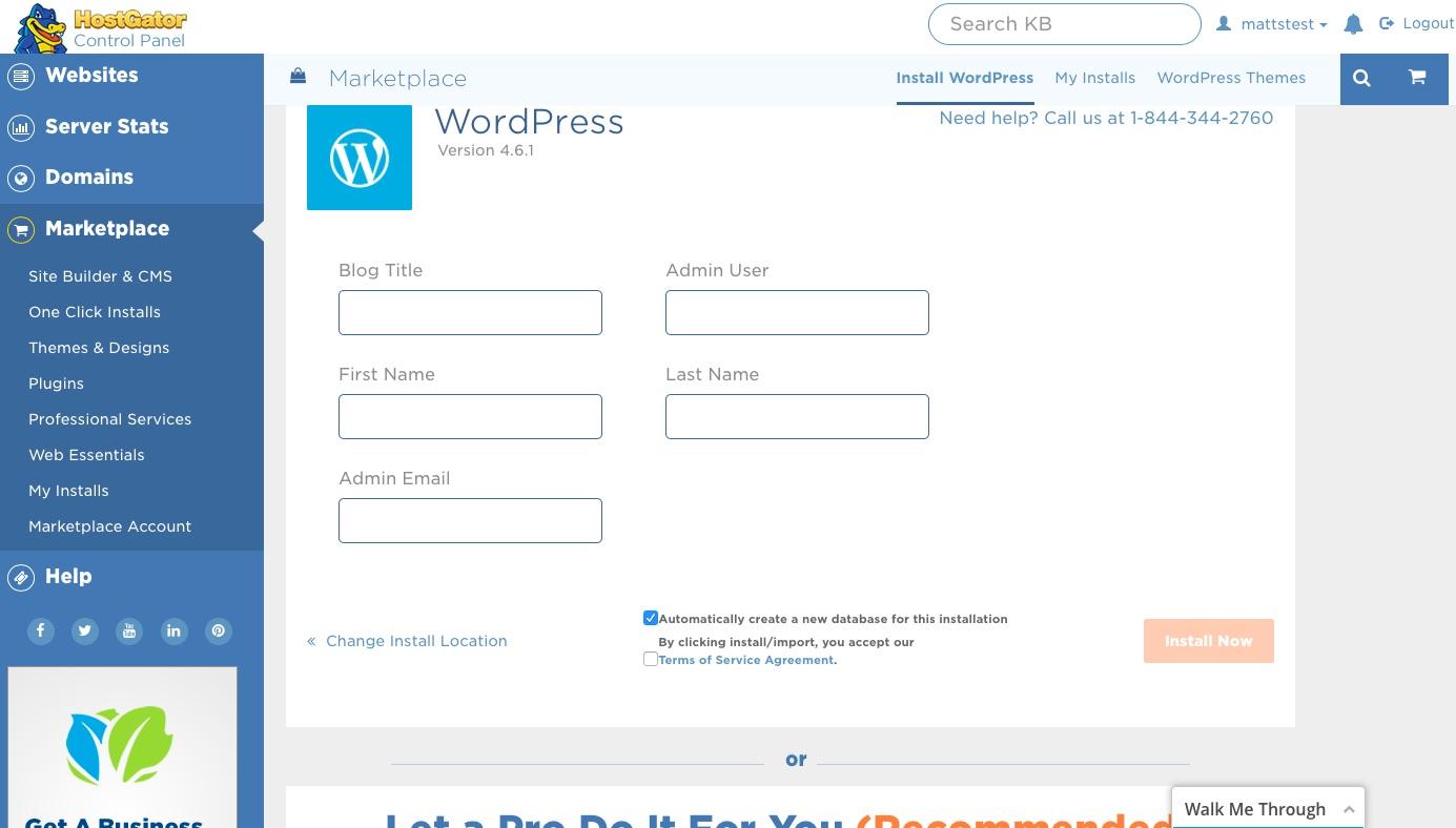 HostGator WordPress Install Details page
