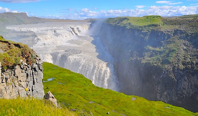 A sunny day at Iceland's most famous waterfall, Gullfoss