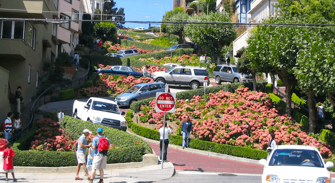 The zig zagged Lombard Street full of cars and pink flowers is a must-see on a sunny day in Cali