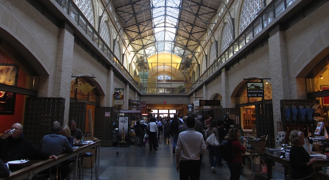 Interior view of the ferry building food court in San Francisco