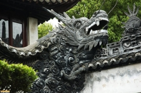 Shanghai China dragon sculpture outside of a temple