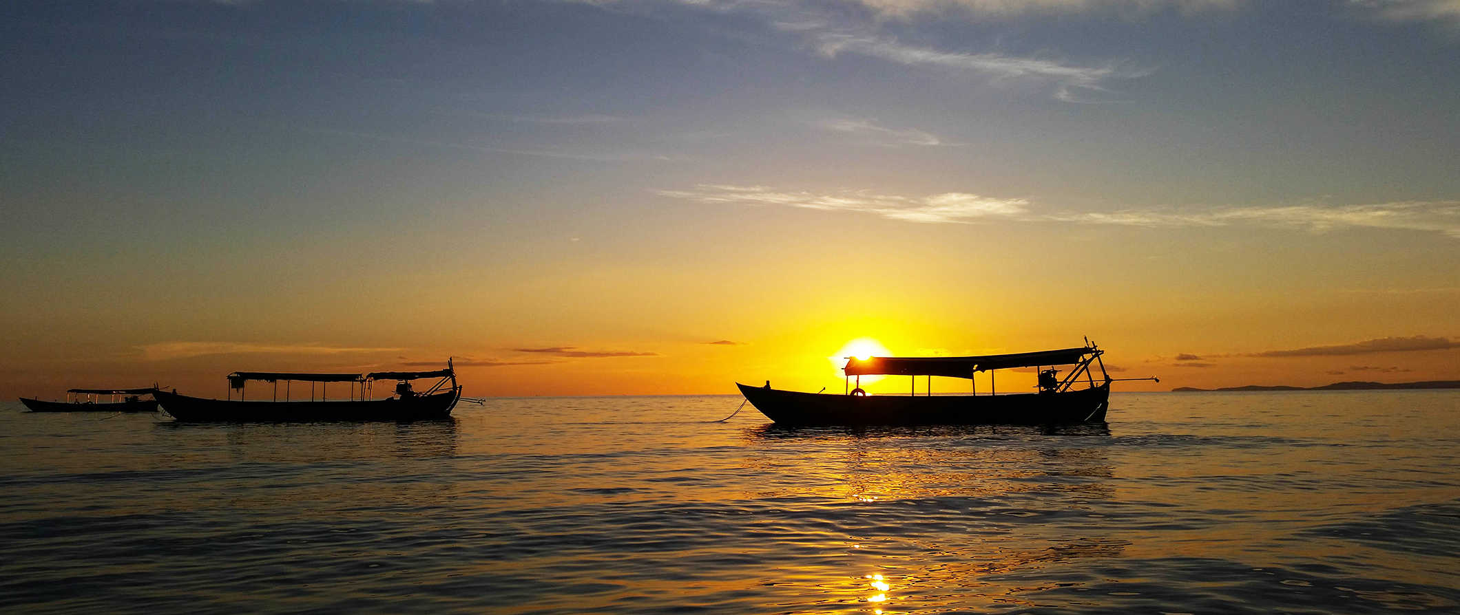 boats at sunset in Sihanoukville