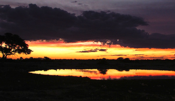 sunset in etosha national park nambibia
