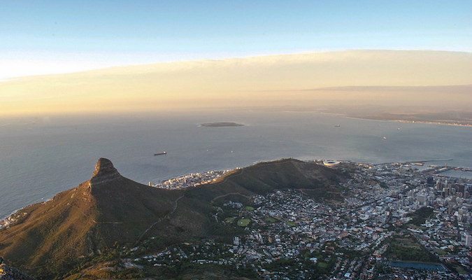 Beautiful sunset view over a mountain in Cape Town, South Africa