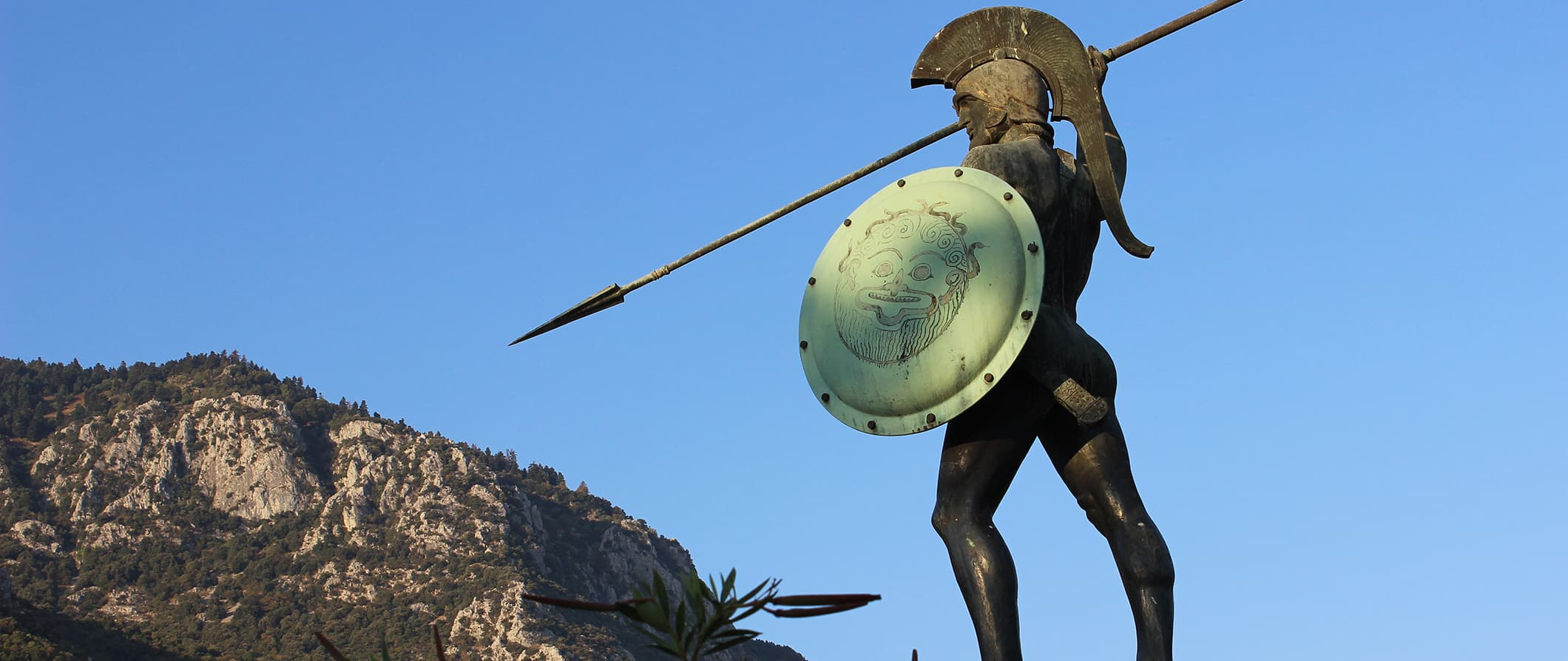 the Spartan soldier statue in Sparta