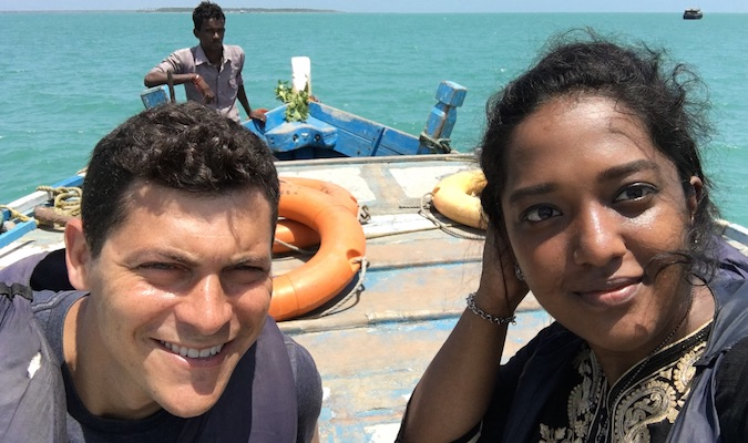 with friendly guide on boat in sri lanka