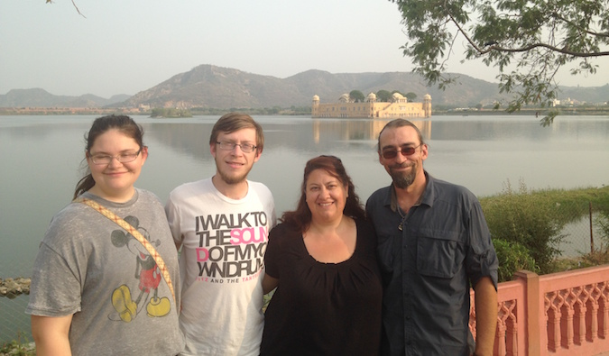 The Schwarz family posing for a photo in front of the Amber Palace in Jaipur, India