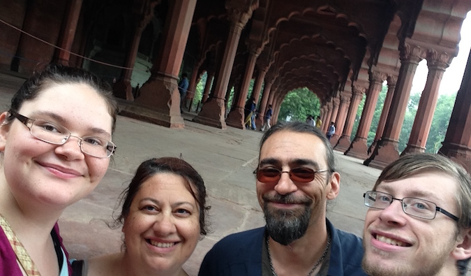 Schwarz family taking a family selfie at the Red Fort in Dehli, India