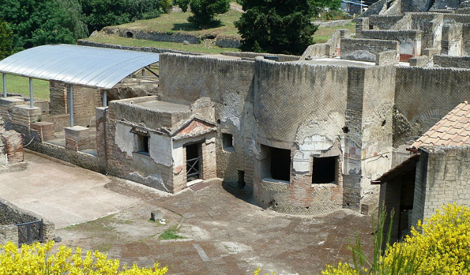Well ancient and well-preserved ruins of the Stabian baths in Pompeii, Italy