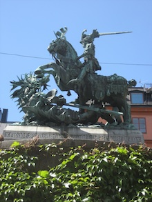Statue of a horseback rider with a sword in Stockholm, Sweden