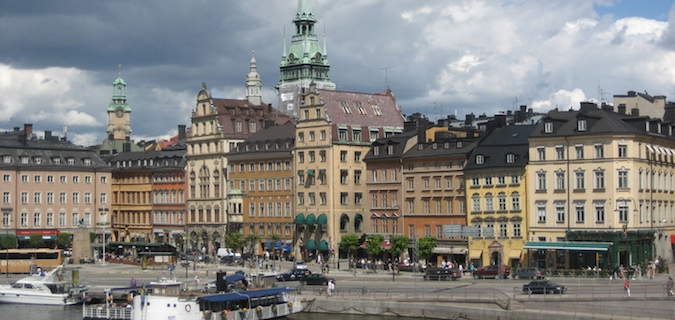 Amazing old European buildings around the square in Stockholm