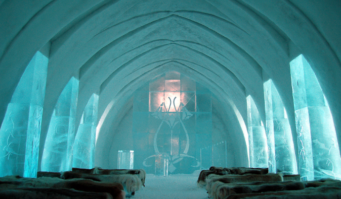Blue lobby area at the Swedish Ice Hotel in Northern Sweden
