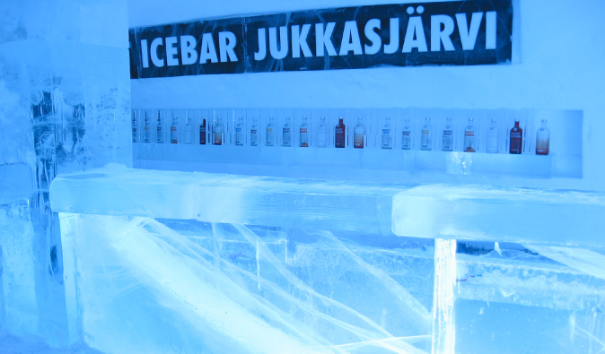 View of the frozen bar in the Jukkasjärvi Icehotel