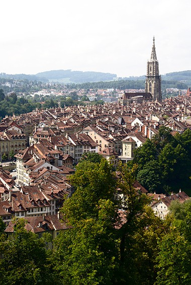 aerial view over Bern, with the cathedral tower