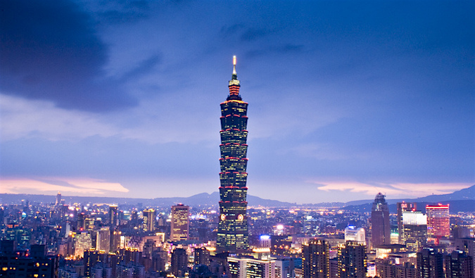 Taipei 101 in Taiwan at twilight
