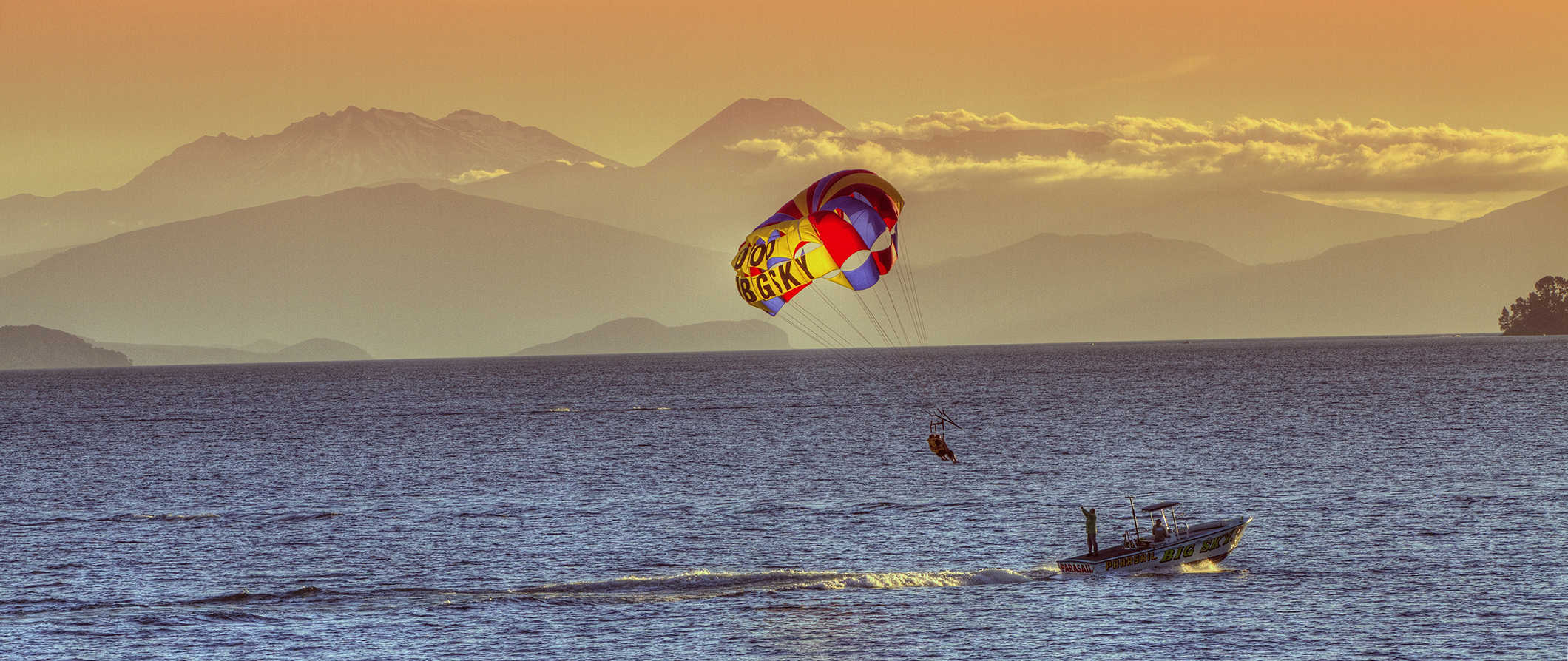 Parasailing on Lake Taupo