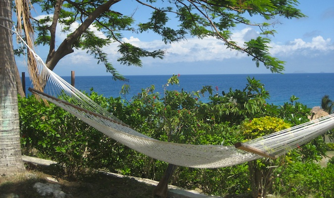 laying in a hammock in fiji