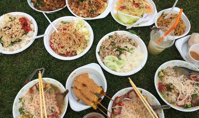 Lots of plates of Thai food to share from the Berlin market