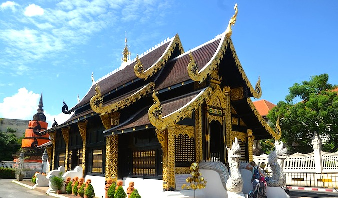 Temple in Chiang Mai on a sunny day with a blue sky